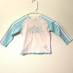 Adidas Girl's 3T White/Baby Blue Trim Pull Over
